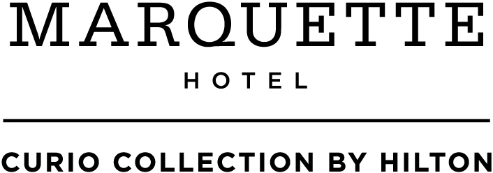 Logo for The Marquette Hotel, Curio Collection by Hilton