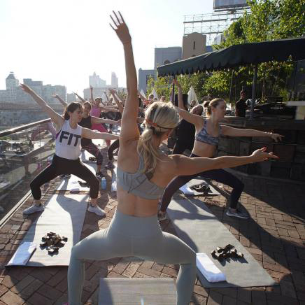 yoga class on rooftop
